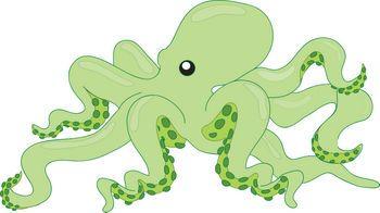 Cards sea themed clip. Clipart octopus green octopus