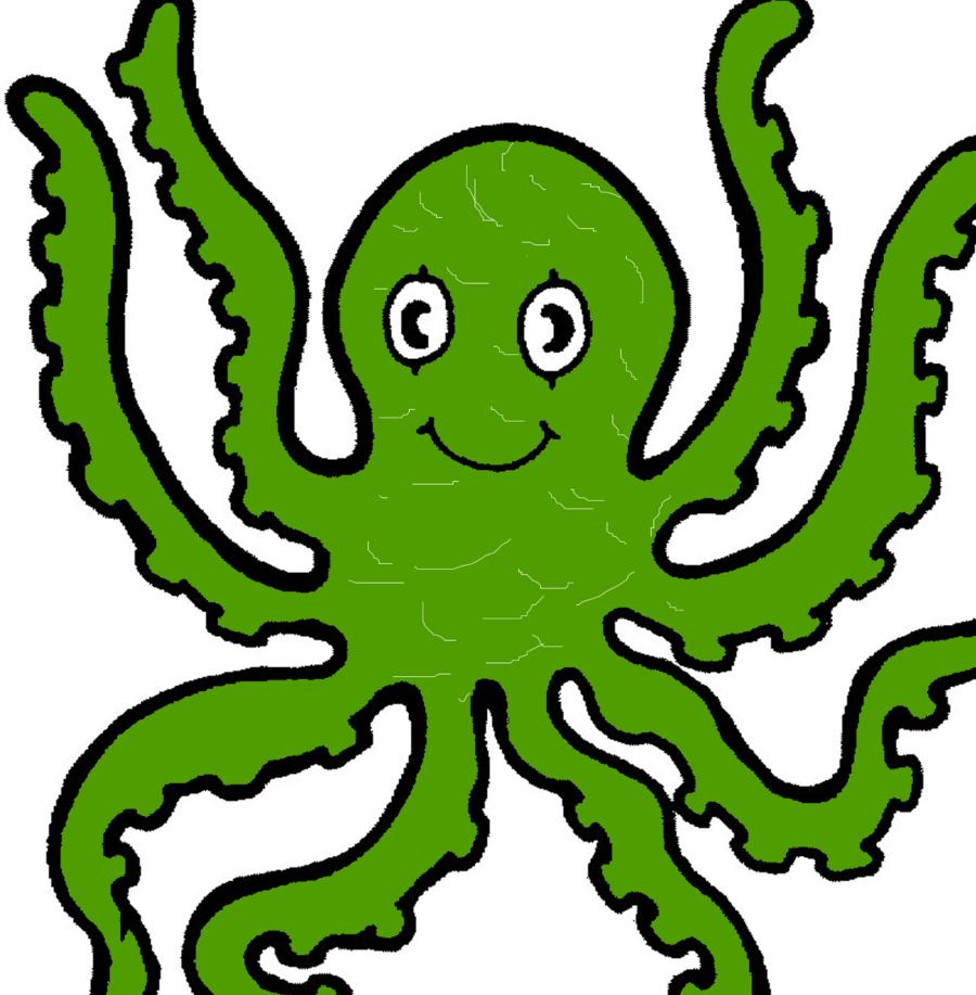Clipart octopus green octopus. Leaf background cartoon