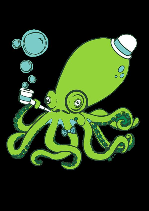 Green comic fantasyart surrealart. Clipart octopus kraken