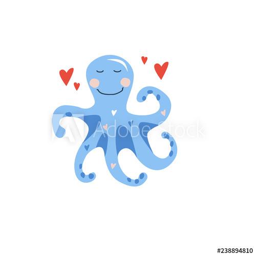 Clipart octopus little blue. Vector hand drawn illustration