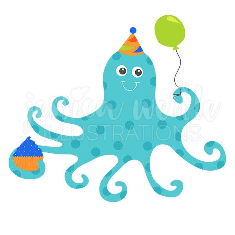 Clipart octopus little blue. Birthday cute digital clip