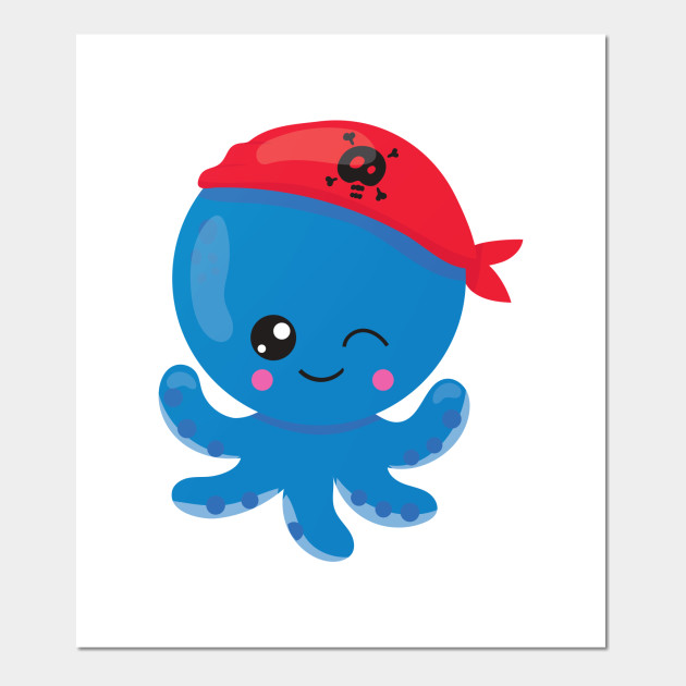 Clipart octopus little blue. Pirate with red hat