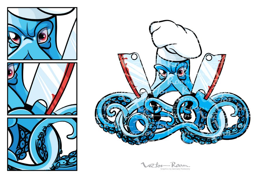 The cook . Clipart octopus mad