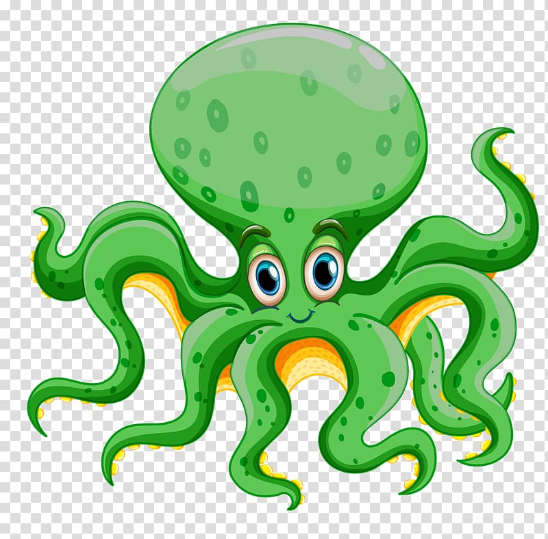 Squid clipart deep sea creature. Green and yellow octopus