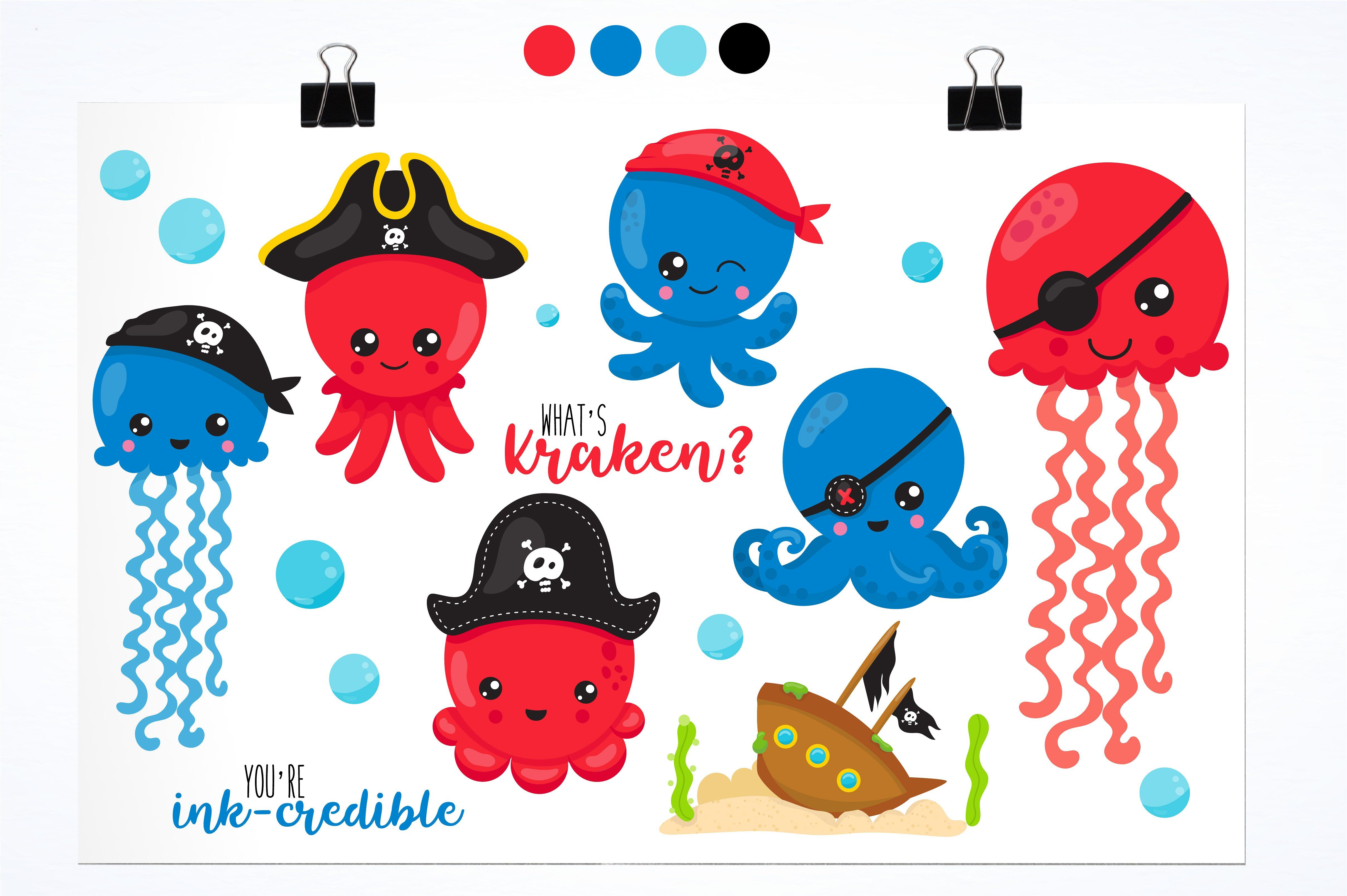 Clipart octopus object. Pirate illustration pack saved