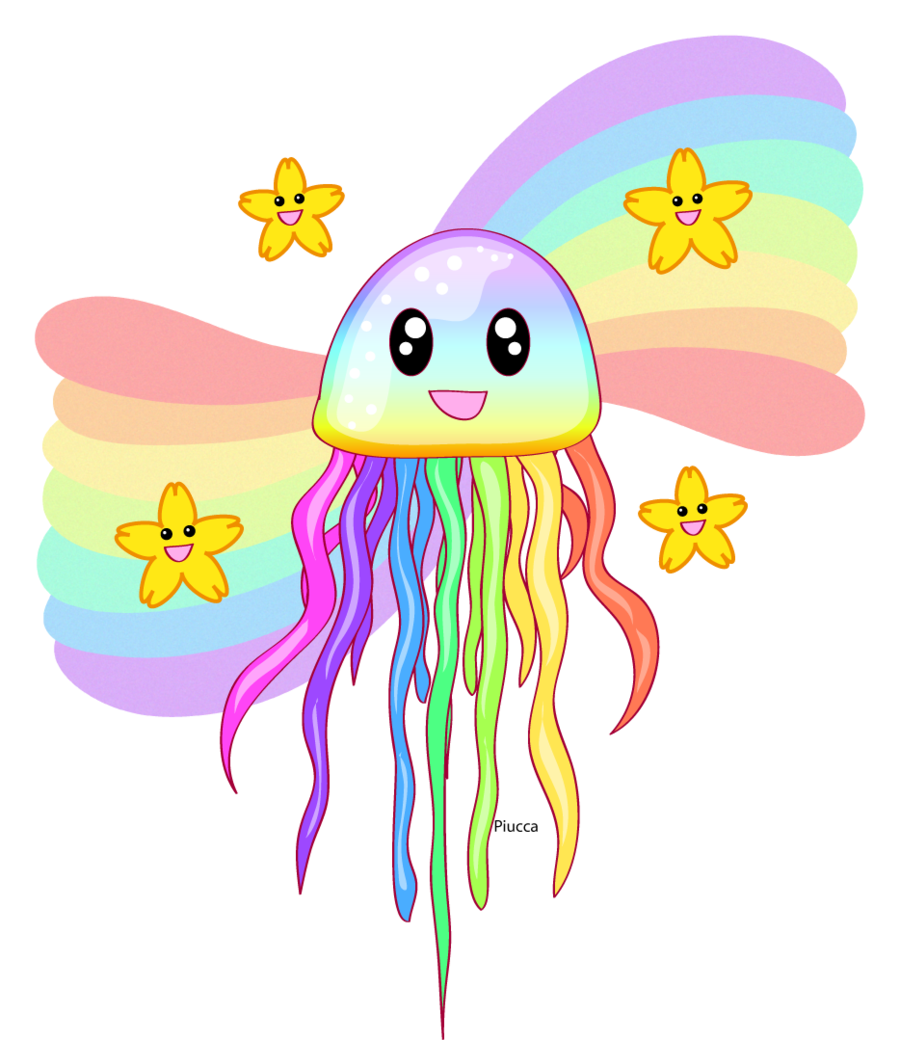Jellyfish clipart rainbow. Jelly by piucca on