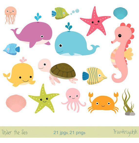Clipart octopus seahorse. Under the sea animals