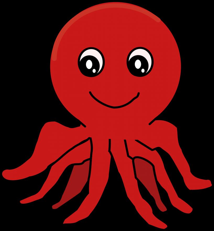 Clipart octopus simple. Red cartoon jokingart com