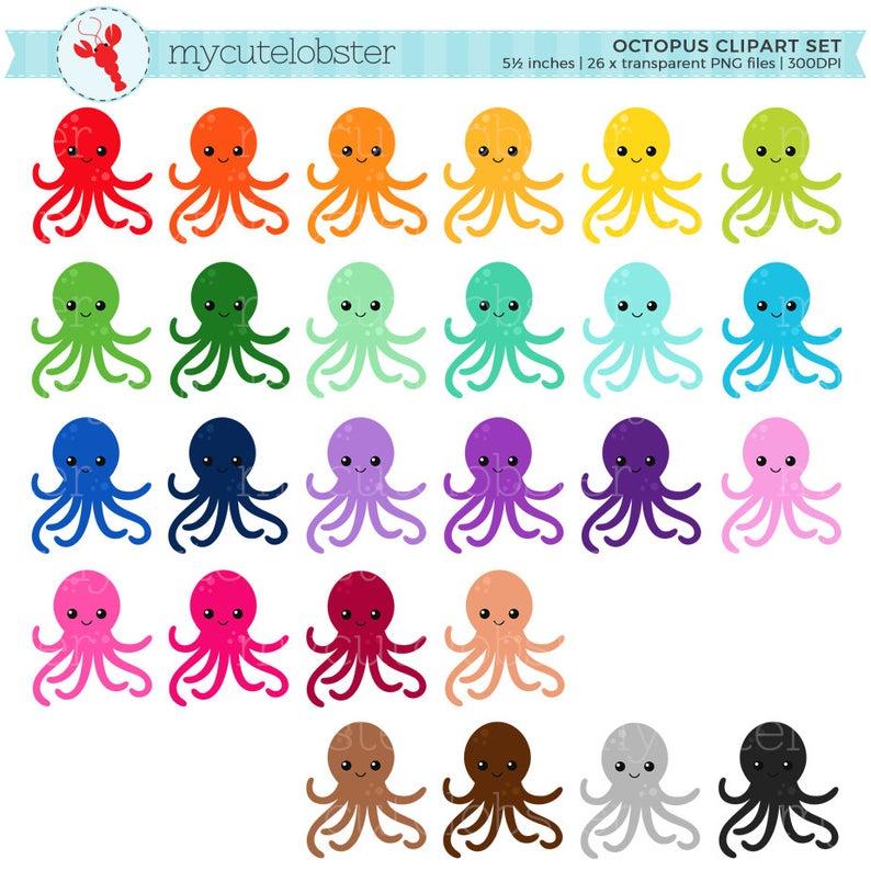 Clipart octopus small octopus. Rainbow set clip art