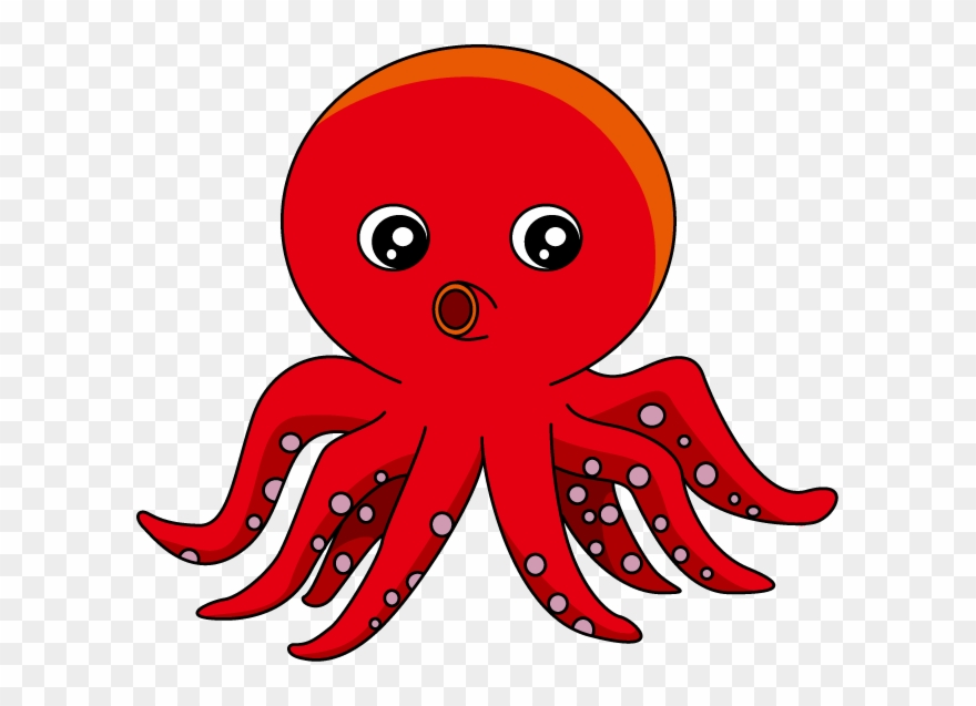 Red cartoon png . Clipart octopus squid