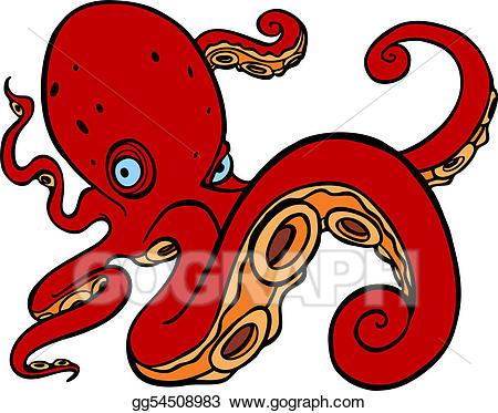 Clipart octopus swimming. Vector illustration stock clip