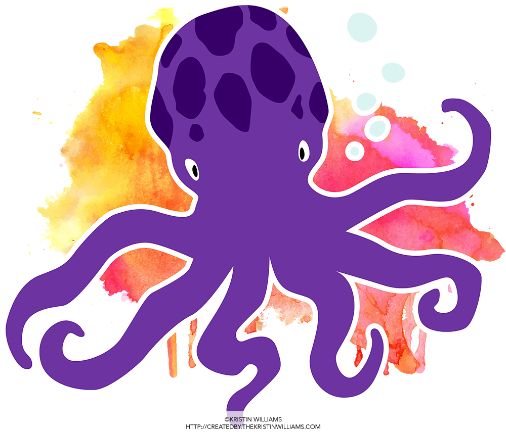 Clipart octopus watercolor. Illustrated sea creatures created