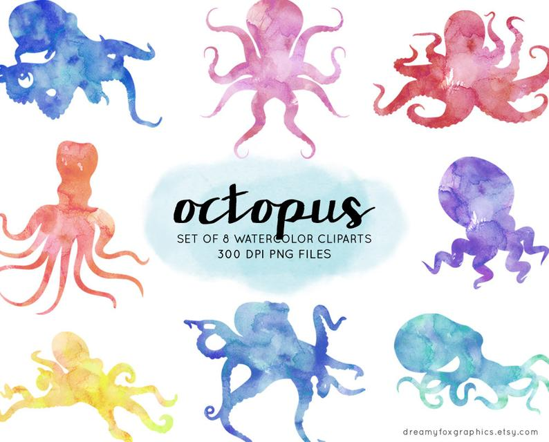 Digital images commercial use. Clipart octopus watercolor