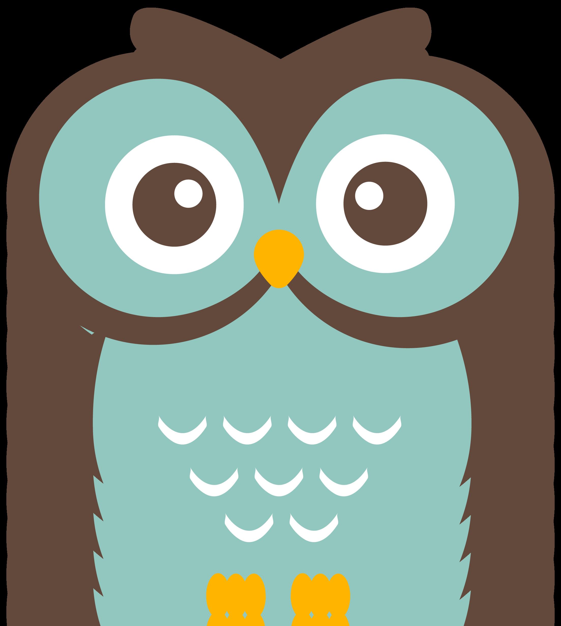 Teal owl . Owls clipart row
