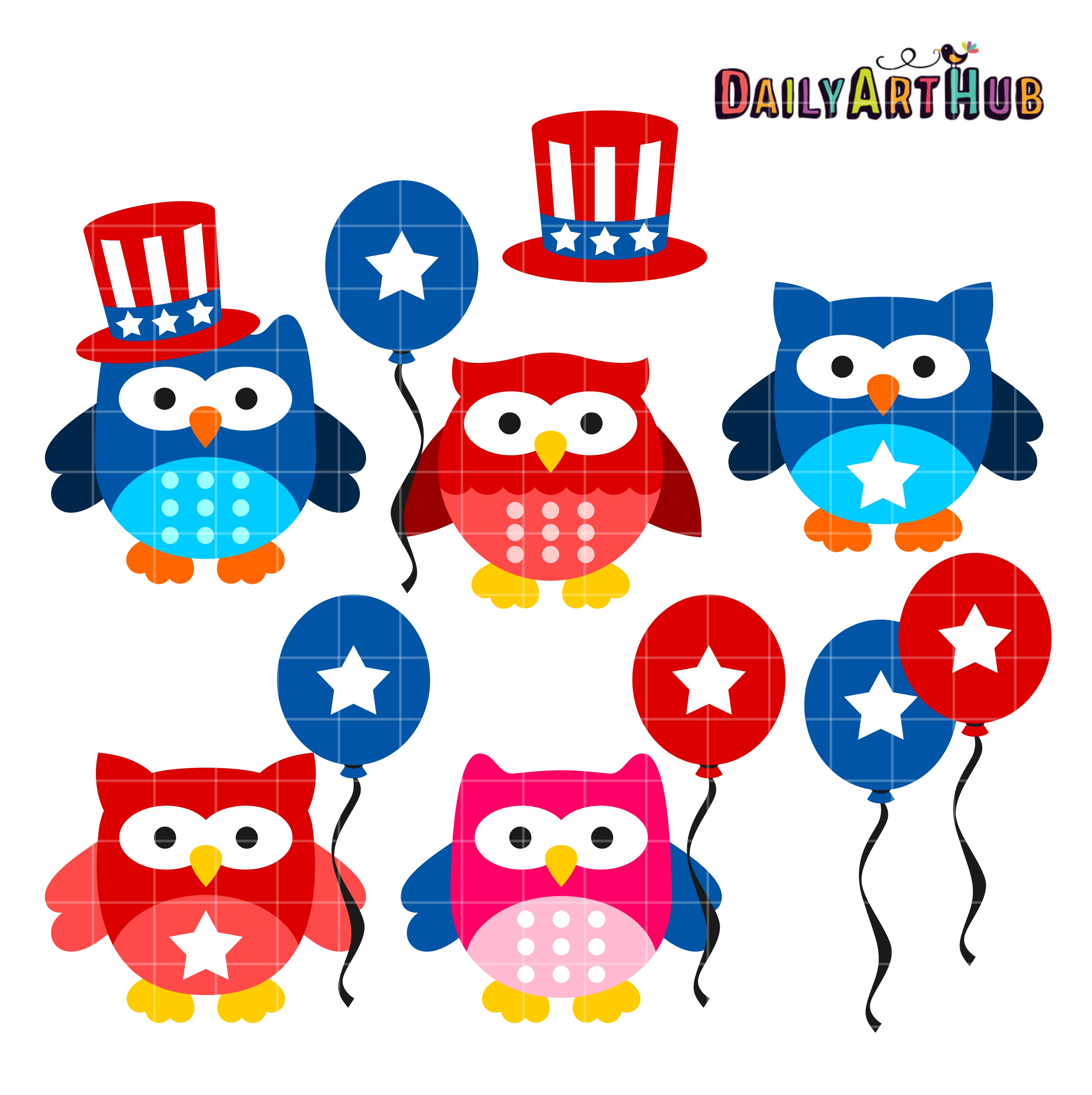 th of owls. Clipart owl 4th july