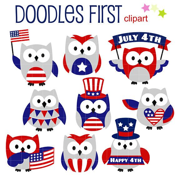 Clipart owl 4th july.  th of owls