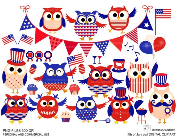 th of digital. Clipart owl 4th july