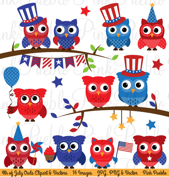 Clipart owl 4th july. Fourth of clip art