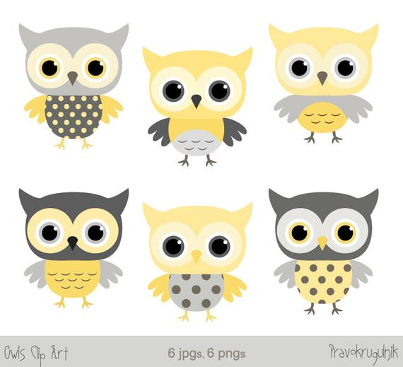 Grey and yellow shower. Clipart owl baby boy