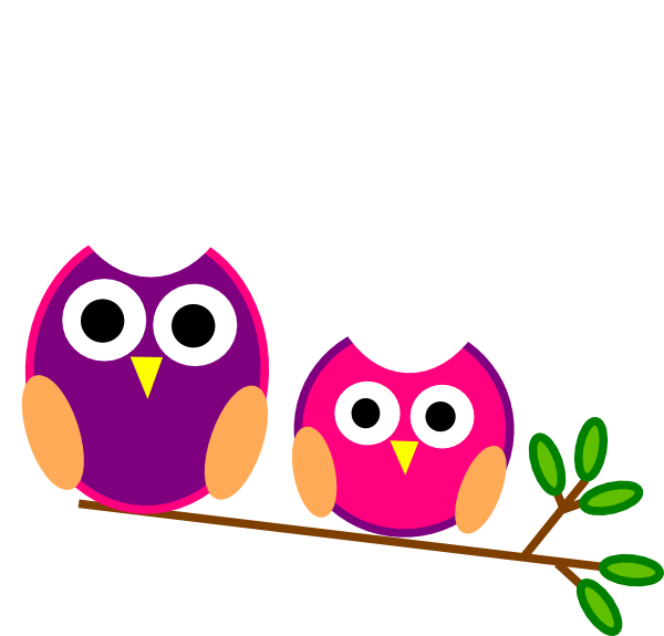 Pink and purple owls. Clipart owl cute