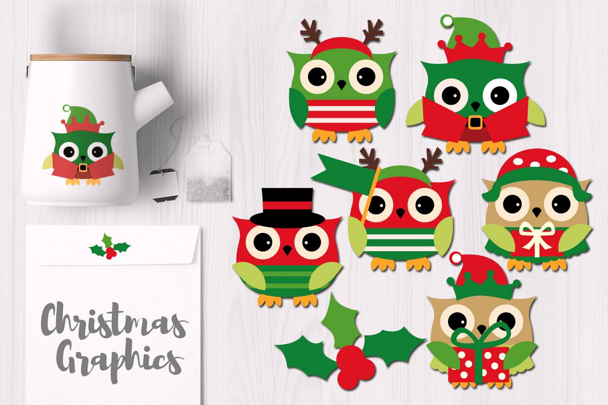 Owls clipart december. Owl christmas graphics