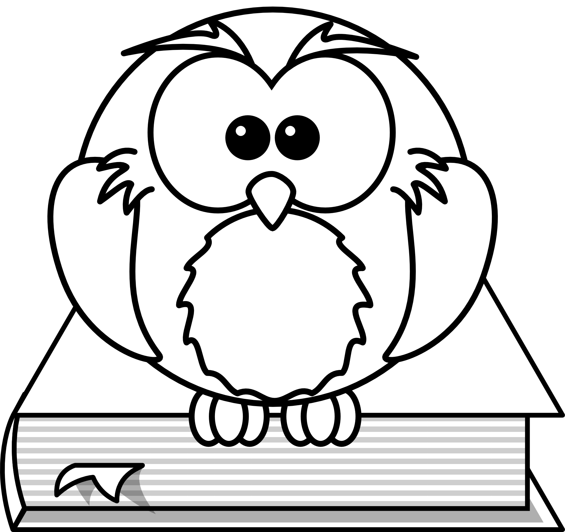 Owl black and white. Lightning clipart coloring page