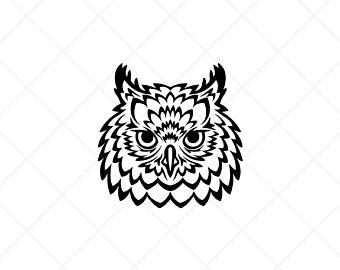 Owls clipart head. Owl etsy