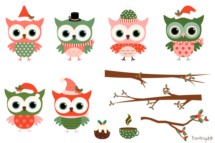 Owls clipart holiday. Christmas set cute owl
