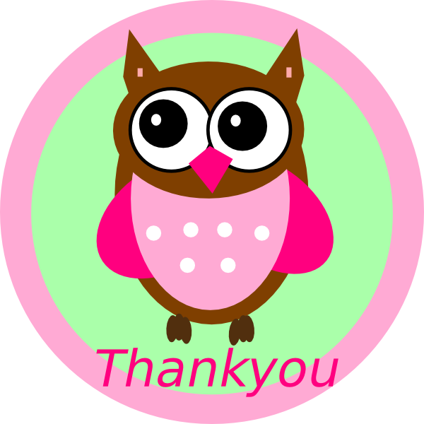 Thanks clipart ppt. Pink owl thankyou tag