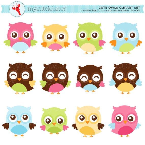 Cute owls set clip. Clipart owl pastel
