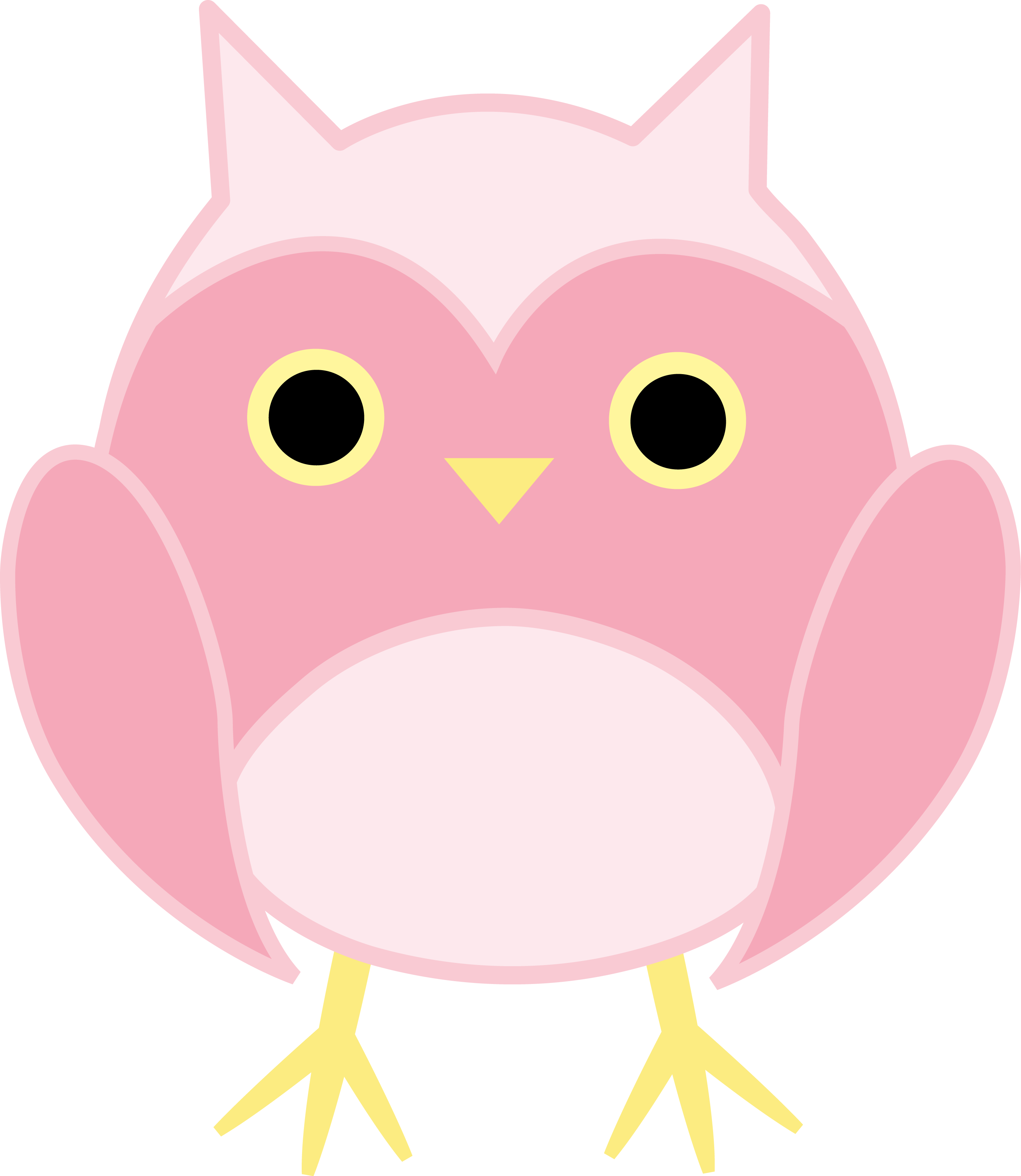 Cute owl free clip. Owls clipart pink