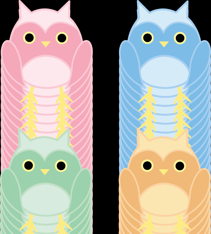 Set of four cute. Clipart owl pastel