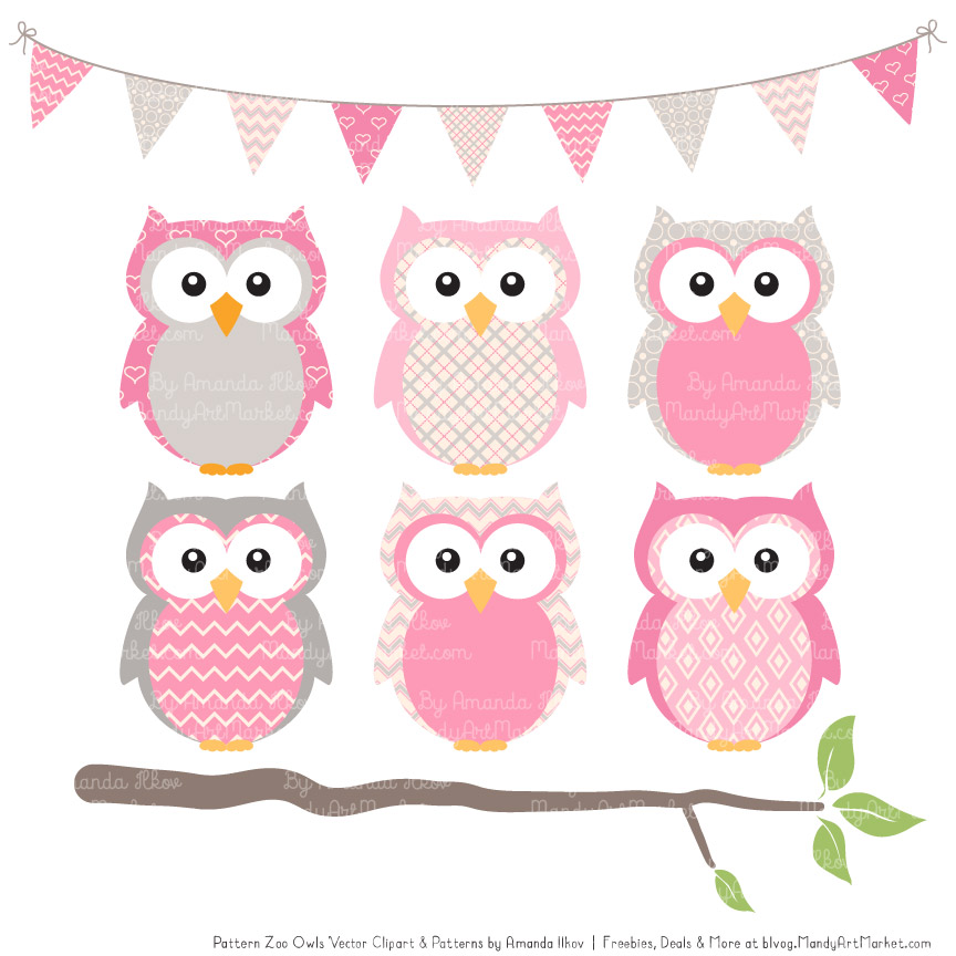 Patterned owl patterns . Owls clipart pink