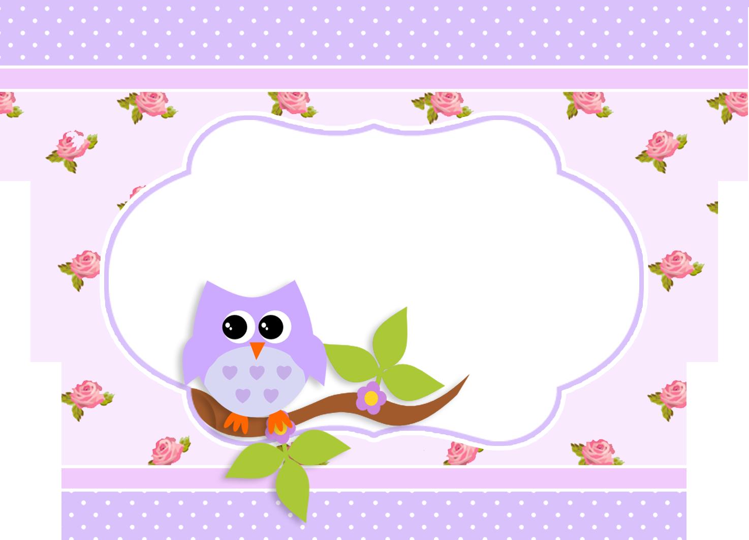 Montando a minha festa. Floral clipart owl