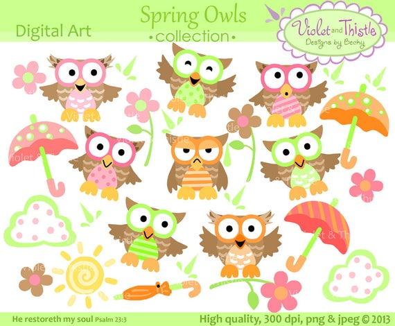 Owls clipart spring. Owl clip art digital