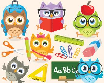 Clipart owl student. School etsy