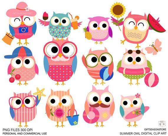 Owls clipart summer. Digital clip art for