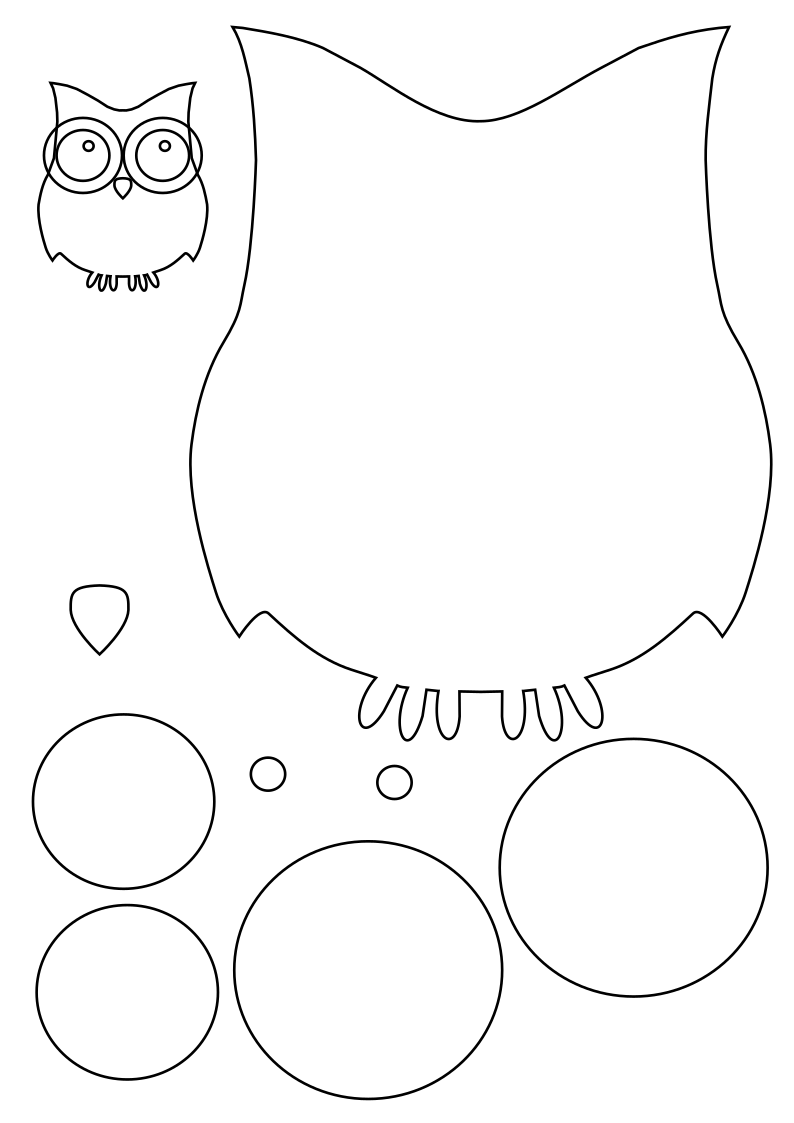 Paper clipart owl. Cutting template rooweb