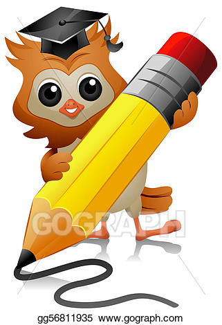 Owl clipart pencil. Drawing writing gg gograph