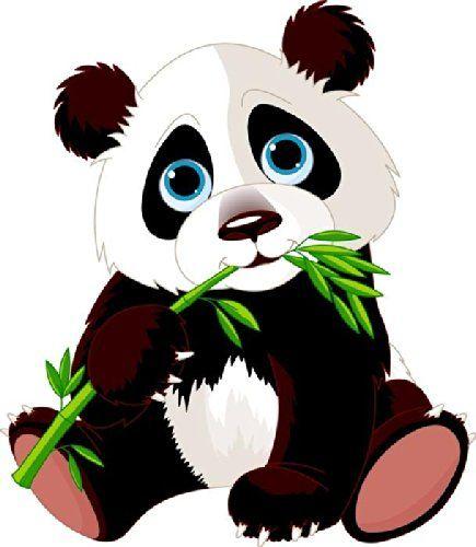 Animal wall decals eating. Clipart panda bamboo stick