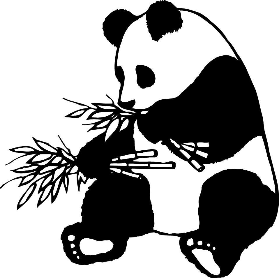 Illustration of a giant. Clipart panda bamboo stick