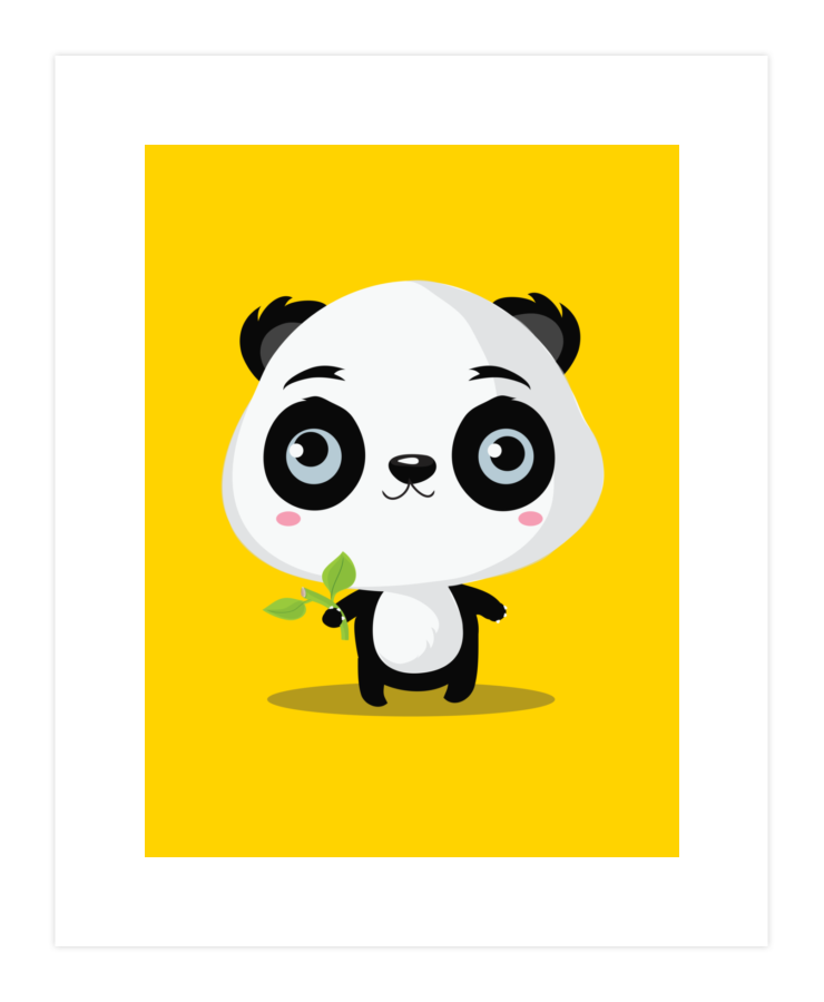Clipart panda bamboo stick. Likes sticks art print