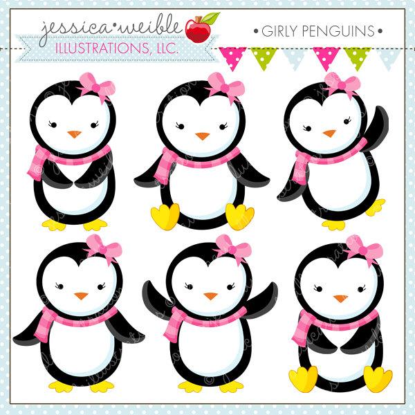 Clipart panda girly. Penguins cute digital free