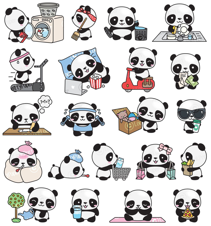 Clipart panda kawii. Haut de gamme vector