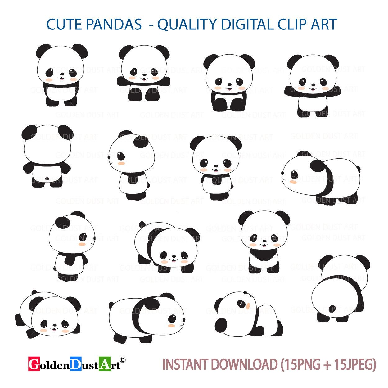 Clipart panda kawii. Cute pandas clip art