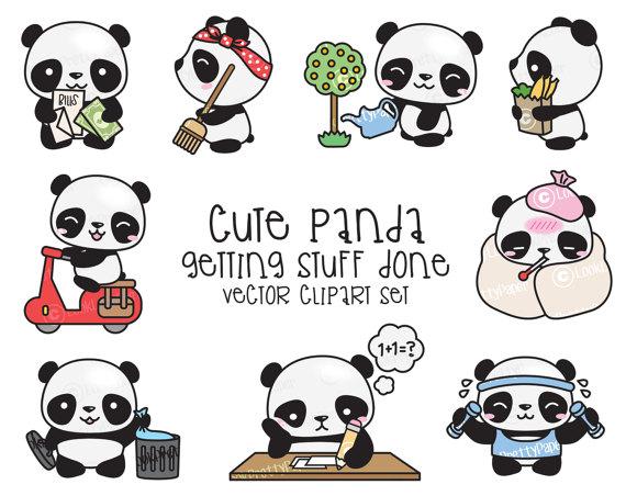 Premium vector kawaii cute. Clipart panda kawii