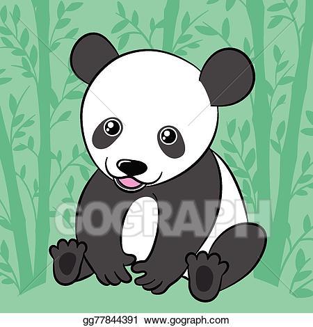 Vector stock cute cartoon. Clipart panda panda habitat