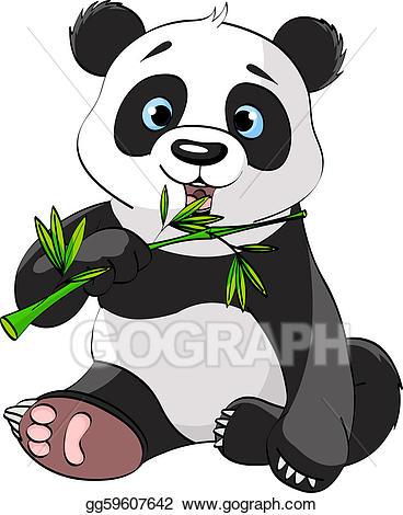 Vector stock eating bamboo. Clipart panda panda habitat