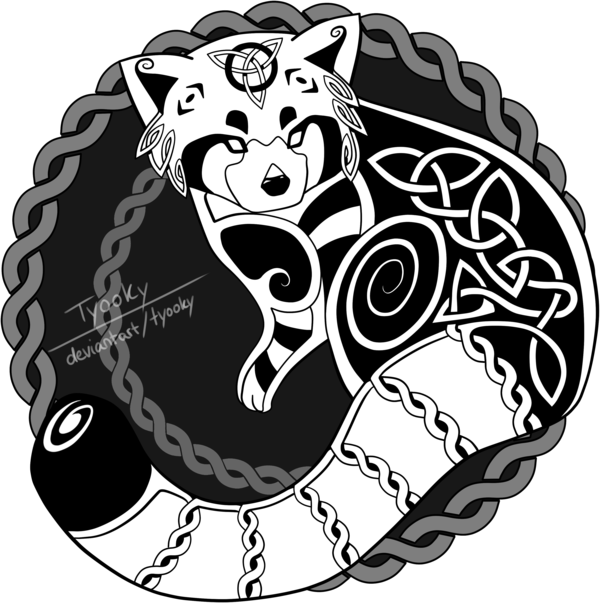Clipart panda red panda. Celtic design by tyooky