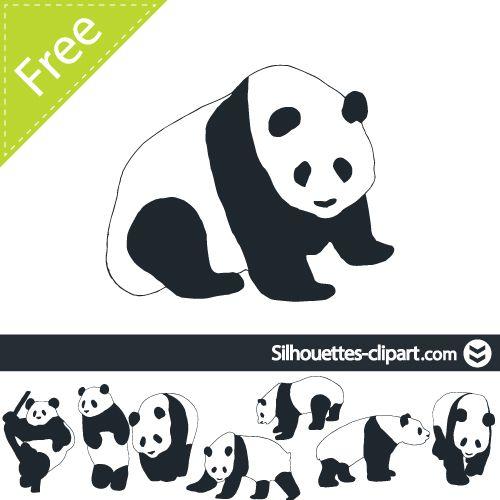 Vector silhouettes . Clipart panda silhouette